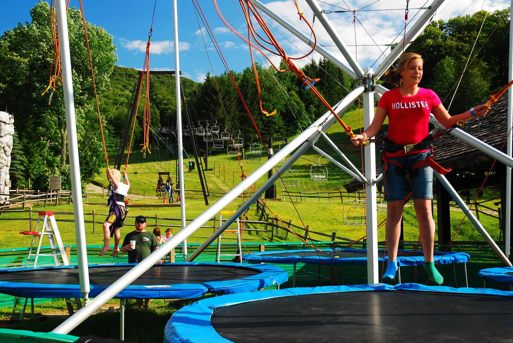 Bungee and trampoline fun at Jiminy Peak in the Berkshires MA