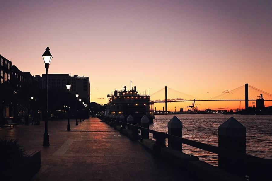 Sunset on the Savannah River in Savannah Georgia