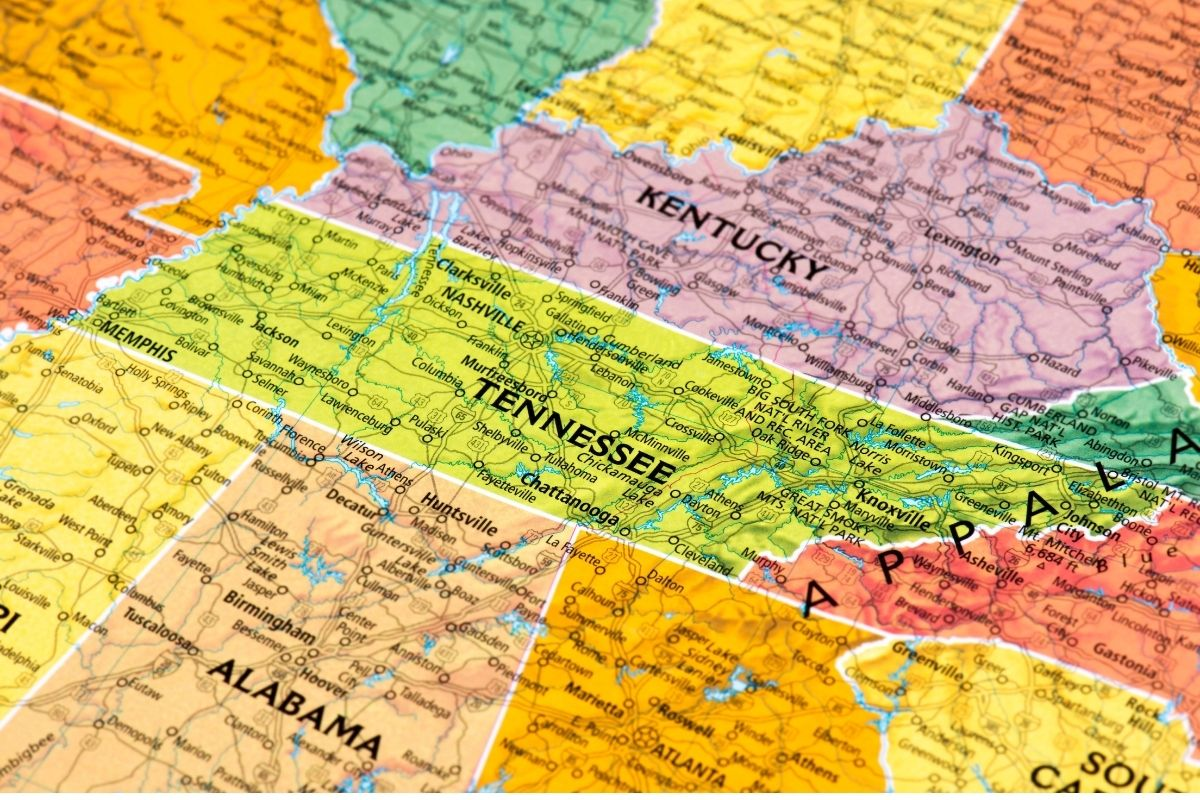 Tennessee map showing its bordering states