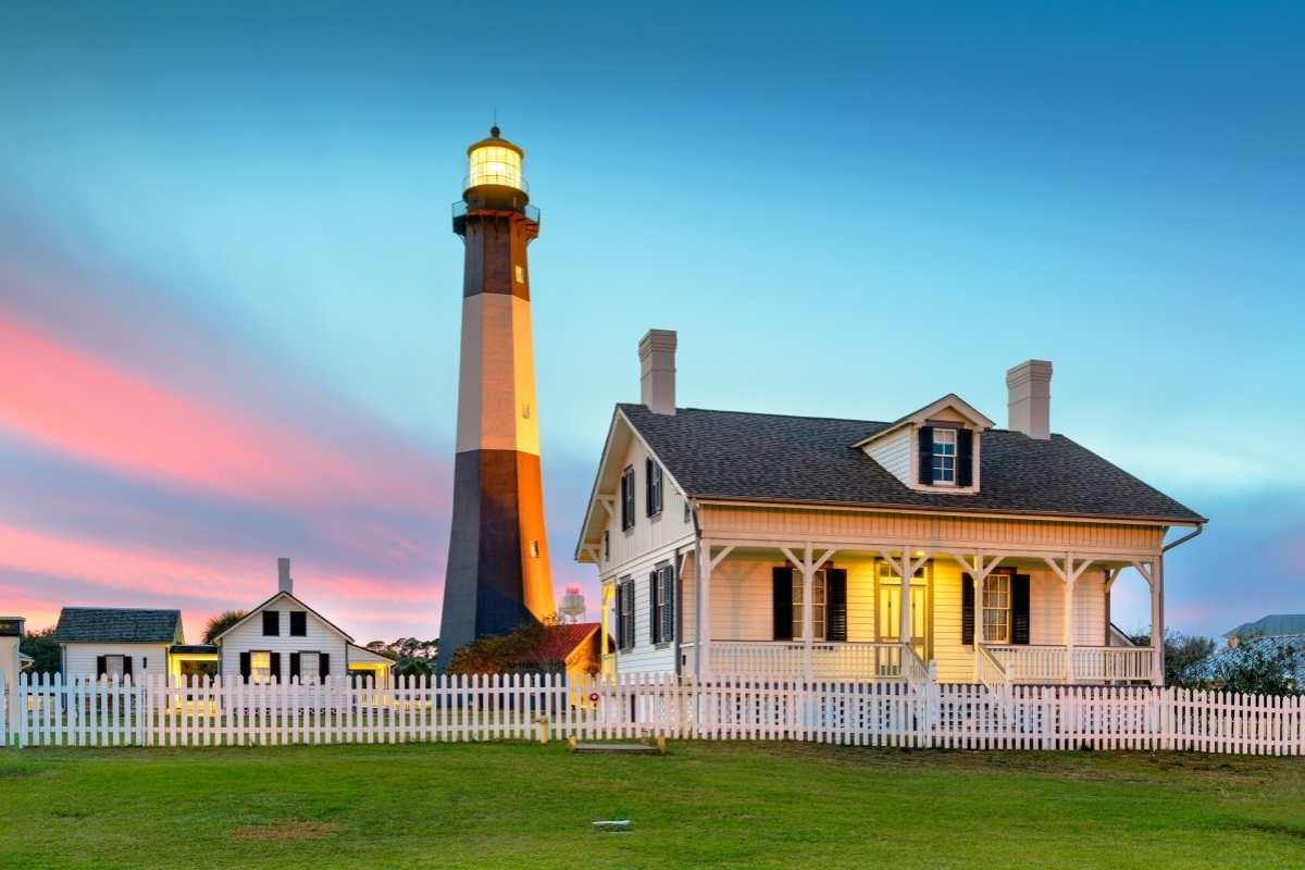 Tybee Island Lighthouse in Georgia in the sunset