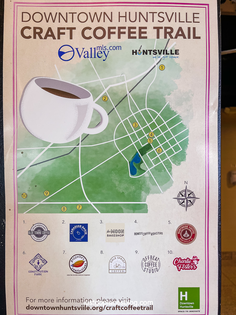 map of the Huntsville Coffee trail