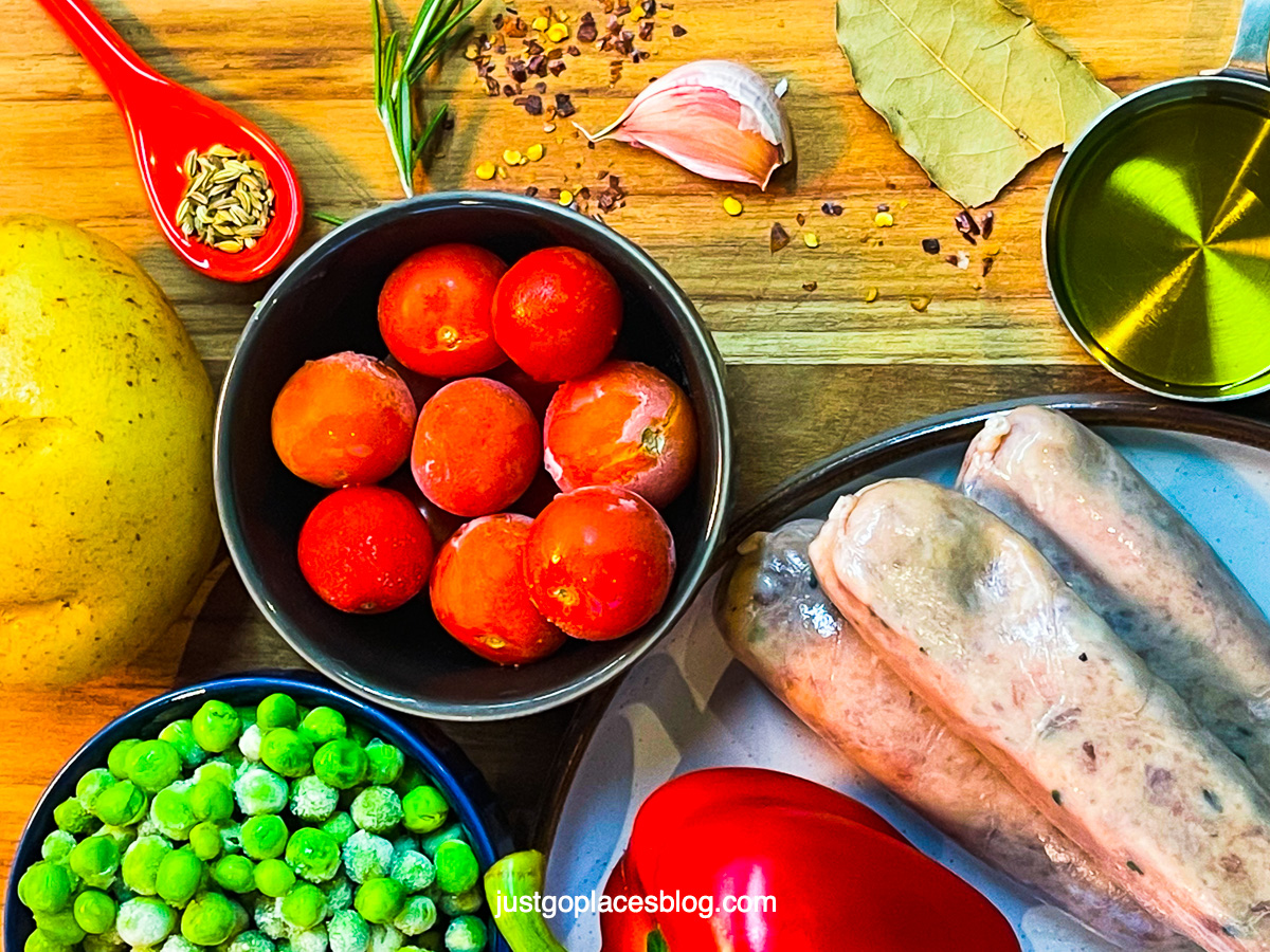 Ingredients for an Italian sausage and potatoes dish with a Sicilian twist