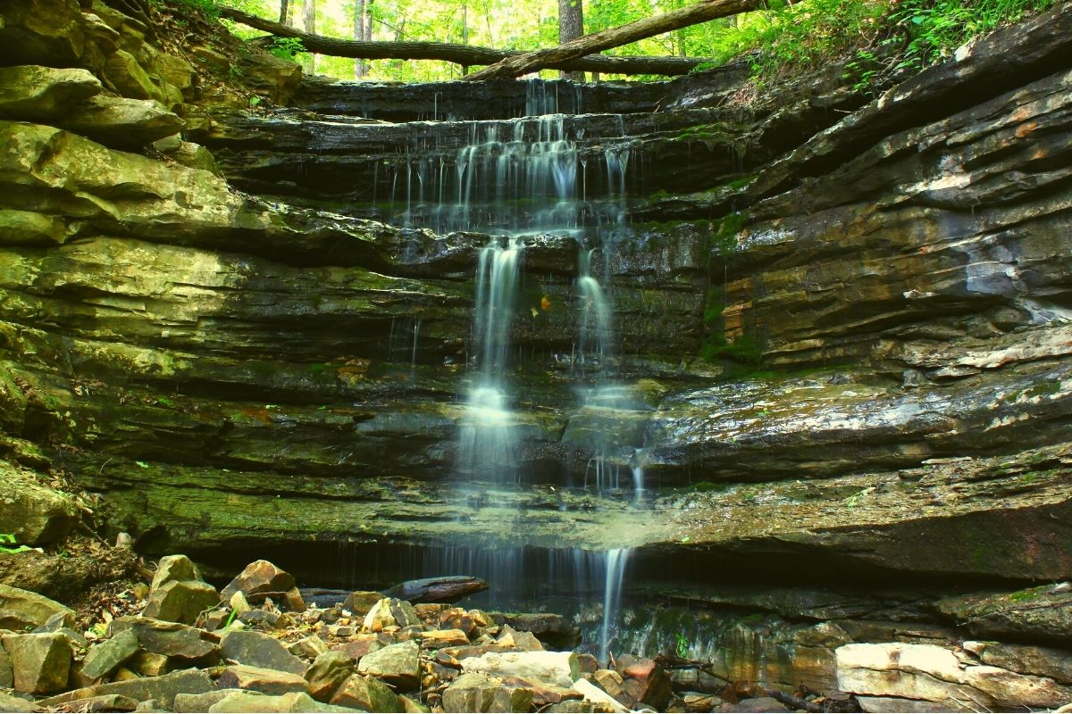 A waterfall in Monte Sano Park
